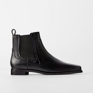 Zara black flat leather ankle boots